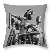 Children At Play Statue B W Throw Pillow