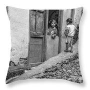 Children At Sankhuwasabha, Nepal Throw Pillow