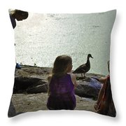 Children At The Pond 1 Version 2 Throw Pillow