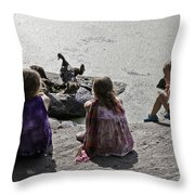 Children At The Pond 2 Throw Pillow
