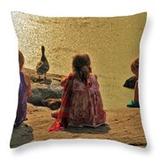 Children At The Pond 4 Throw Pillow
