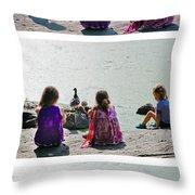 Children At The Pond Triptych Throw Pillow