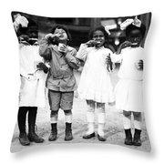 Children Brushing Teeth Throw Pillow