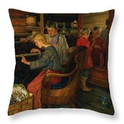 Children By The Piano Throw Pillow