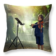 Children In Folk Costumes Playing Violin In Thailand Throw Pillow