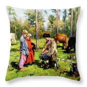 Children Of The Forest Throw Pillow
