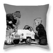Children Play At Repairing Toy Car Throw Pillow