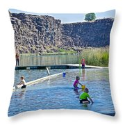 Children Playing In Dierkes Lake In Snake River Above Shoshone Falls Near Twin Falls-idaho  Throw Pillow