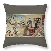 Children Playing In The Snow Under Plum Trees In Bloom Throw Pillow