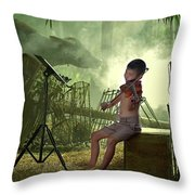 Children Playing Violin In The Folk Style. Throw Pillow