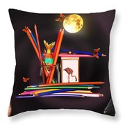 Children Playing With Colours Throw Pillow