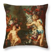 Children Playing With Flowers Throw Pillow