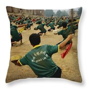 Children Practice Kung Fu In A Field Throw Pillow by Justin Guariglia