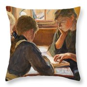 Children Reading Throw Pillow