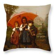 Children Under A Red Umbrella Throw Pillow