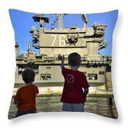 Children Wave As Uss Ronald Reagan Throw Pillow