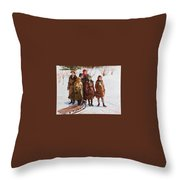 Children With A Sled Nikolai Petrovich Bogdanov-belsky Throw Pillow
