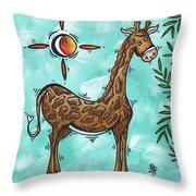 Childrens Nursery Art Original Giraffe Painting Playful By Madart Throw Pillow