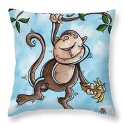 Childrens Whimsical Nursery Art Original Monkey Painting Monkey Buttons By Madart Throw Pillow