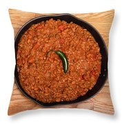 Chili In Black Pan On Wood Table With Jalapeno Pepper Throw Pillow