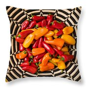 Chili Peppers In Basket  Throw Pillow