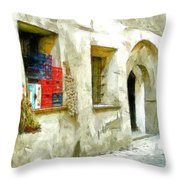 Chilli Peppers And Onions Hanging On The Wall Throw Pillow