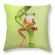 Chilling Tiger Leg Monkey Tree Frog Throw Pillow