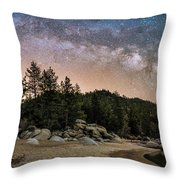 Chimney Beach With Milky Way Throw Pillow