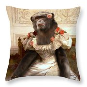 Chimp In Gown  Throw Pillow