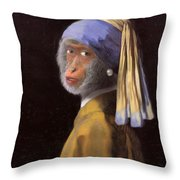 Chimp With A Pearl Earring Throw Pillow