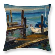 China Basin Docks Throw Pillow