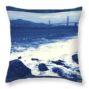 China Beach And Golden Gate Bridge With Blue Tones Throw Pillow