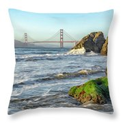 China Beach To The Golden Gate Throw Pillow
