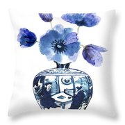 China Blue Vase  With Poppy Flower Throw Pillow