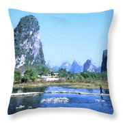 China, Guangxi Province, Guilin Throw Pillow