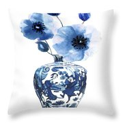 China Ming Vase With Flower Throw Pillow