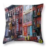 China Town Buildings Throw Pillow