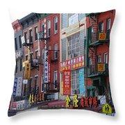 China Town Buildings Throw Pillow