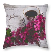 Chinaberry Blossoms And Coffee Cup Throw Pillow