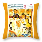 Chinatown By Underground - Leicester Square - London Underground - Retro Travel Poster Throw Pillow