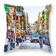 Chinatown In New York City 2 Throw Pillow