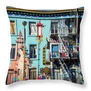 Chinatown Mural On Broadway Throw Pillow