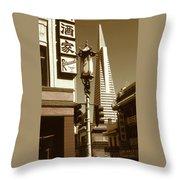 San Francisco Chinatown And Pyramid Throw Pillow