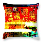 Chinatown Window Reflection 4 Throw Pillow by Marianne Dow