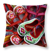 Chinese Baby Shoes Throw Pillow