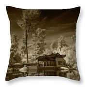 Chinese Botanical Garden In California With Koi Fish In Sepia Tone Throw Pillow