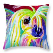 Chinese Crested - Fancy Pants Throw Pillow by Alicia VanNoy Call