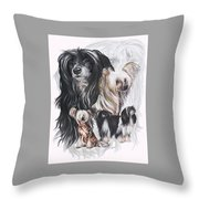 Chinese Crested And Powderpuff W/ghost Throw Pillow