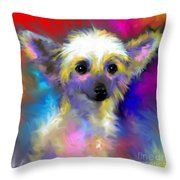 Chinese Crested Dog Puppy Painting Print Throw Pillow