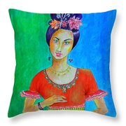 Chinese Dancer -- The Original -- Portrait Of Asian Woman Throw Pillow